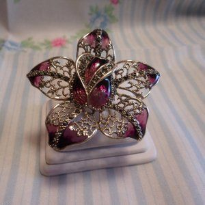 Jewelry - Red Enamel Sterling Silver Floral Ring Thailand